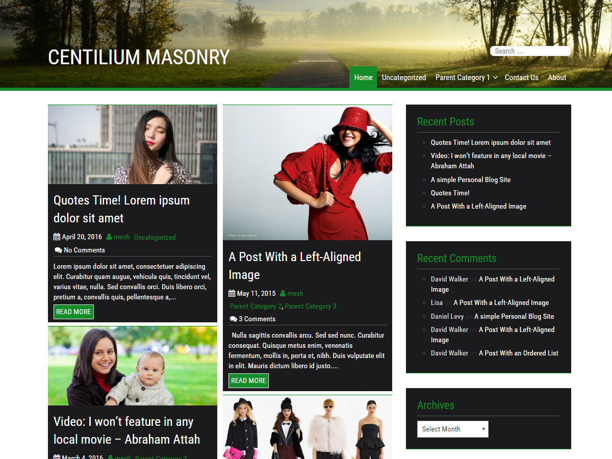 Centilium Masonry Blogging Bootstrap 4 WordPress Theme