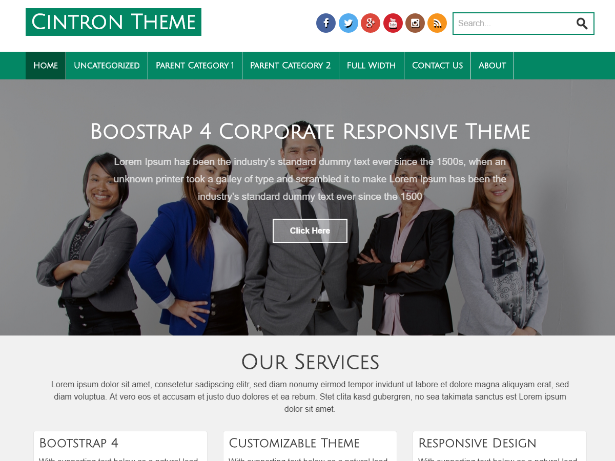 Cintron Business and Corporate Responsive Bootstrap 4 WordPress Theme