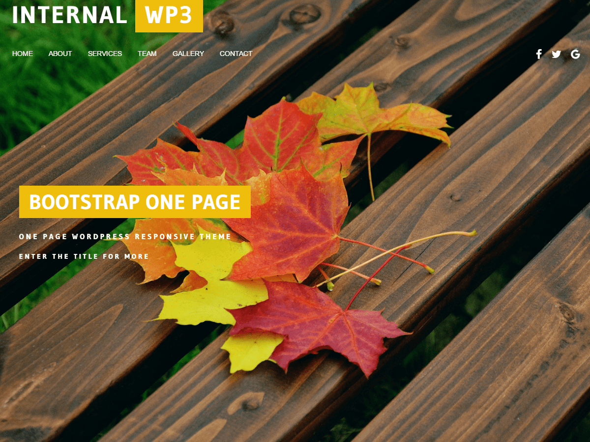 Internal WP3 One Page Theme Bootstrap Responsive WordPress
