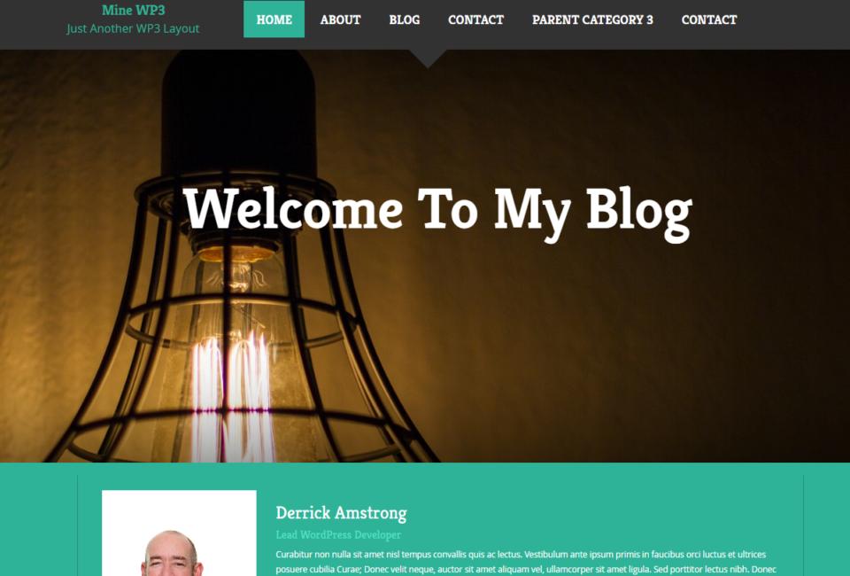 Mine WP3 Blog WordPress Responsive Bootstrap Theme