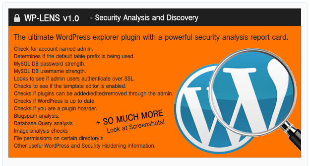 WP-Lens - Security and Analysis WordPress Plugin