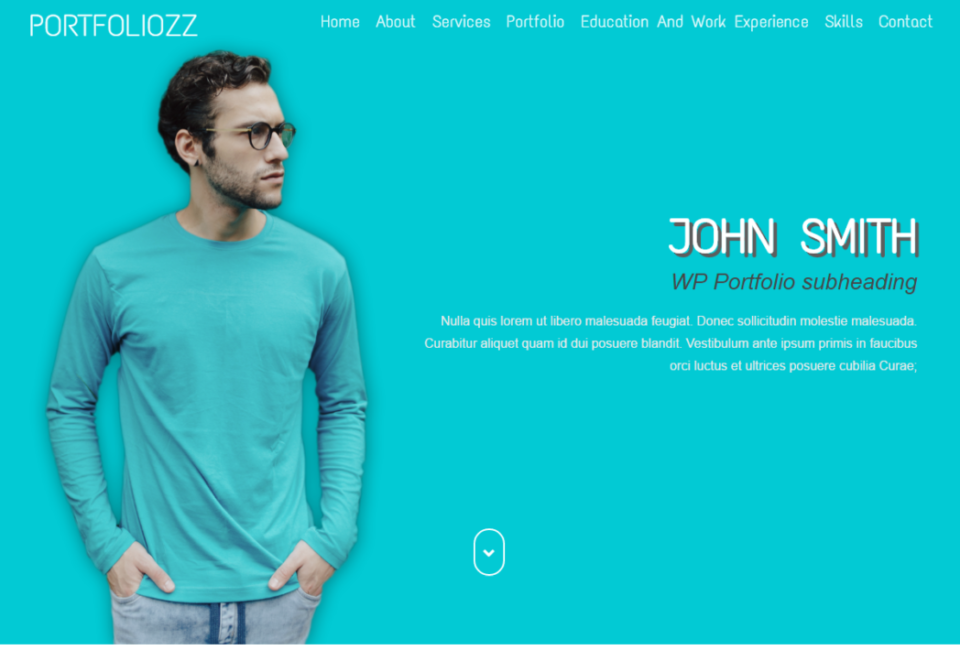 Portfoliozz One Page Simple CV Portfolio WordPress Theme