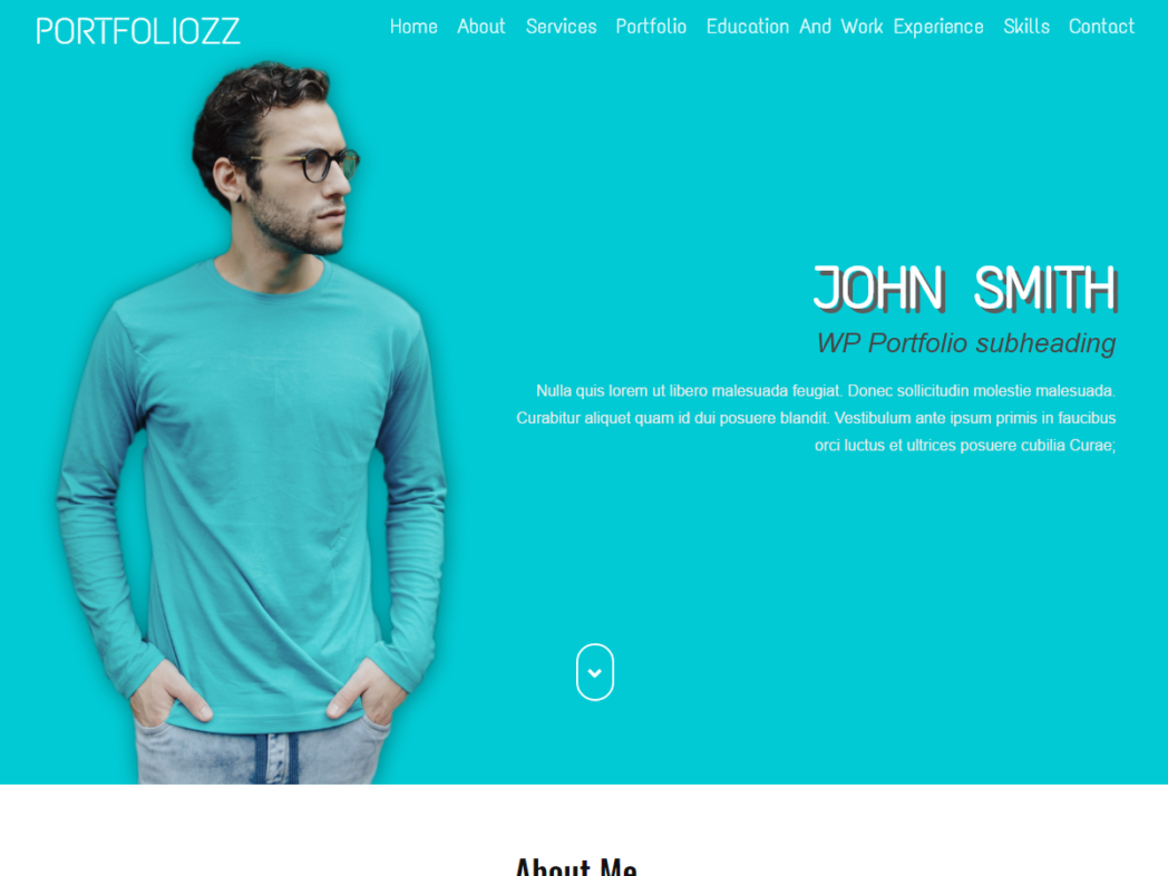 Portfoliozz – One Page Simple CV Portfolio WordPress Theme
